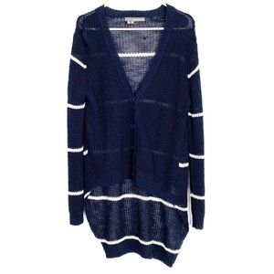360 Sweater High Low Cardigan Sweater Striped Navy